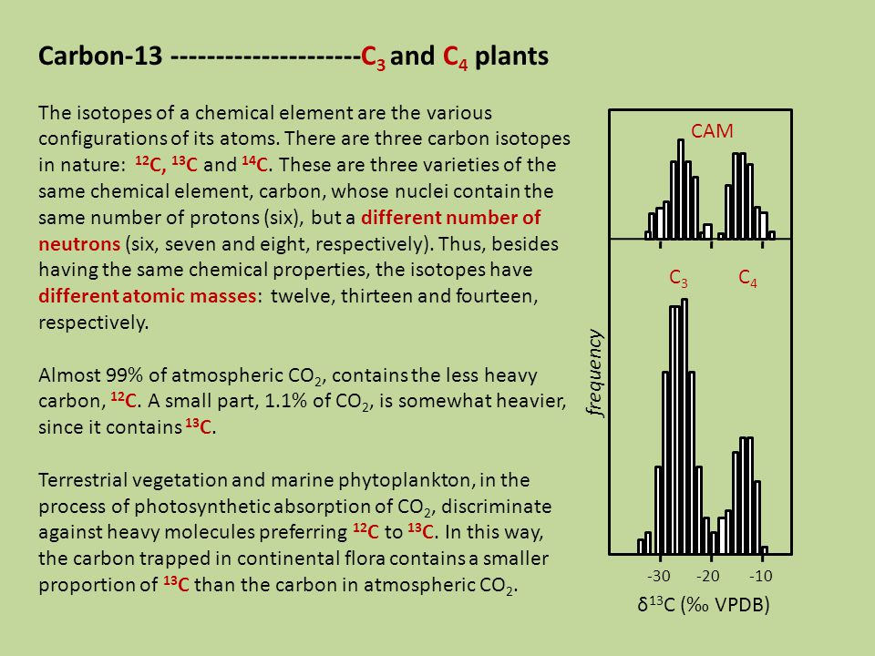 Carbon-13 ---------------------C 3 and C 4 plants The isotopes of a chemical element are the various configurations of its atoms.