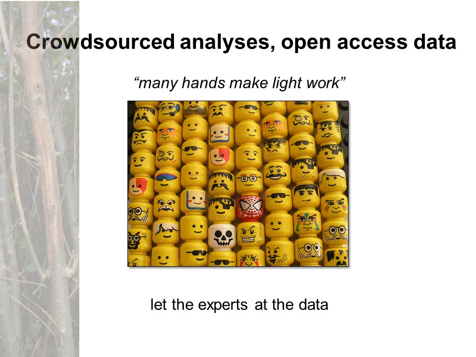 many hands make light work Crowdsourced analyses, open access data let the experts at the data