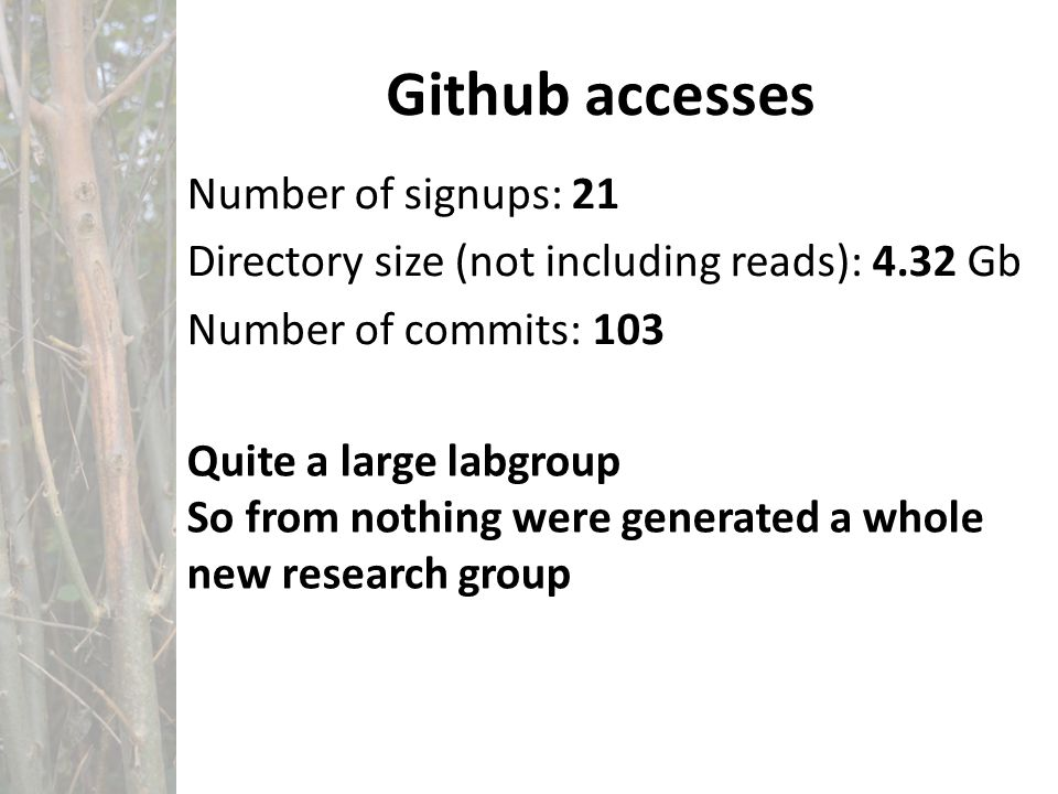 Github accesses Number of signups: 21 Directory size (not including reads): 4.32 Gb Number of commits: 103 Quite a large labgroup So from nothing were generated a whole new research group