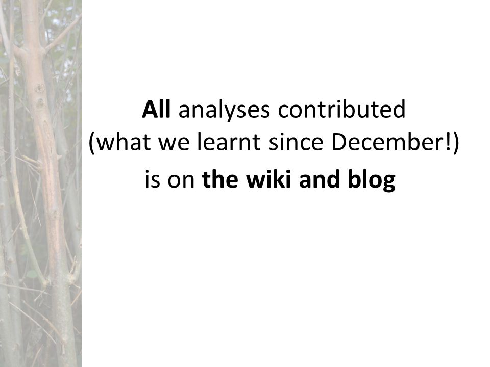 All analyses contributed (what we learnt since December!) is on the wiki and blog