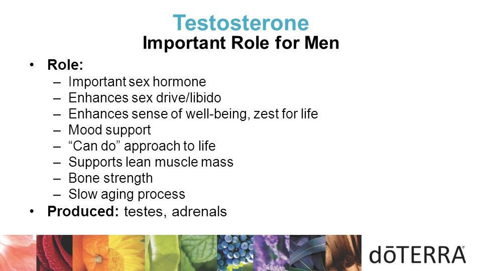  Testosterone Important Role for Men Role: –Important sex hormone –Enhances sex drive/libido –Enhances sense of well-being, zest for life –Mood suppo
