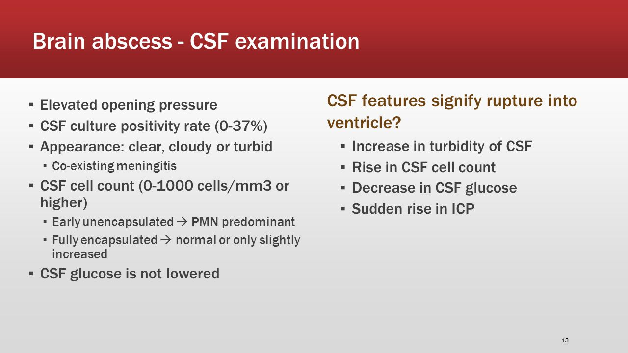 Brain abscess - CSF examination ▪ Elevated opening pressure ▪ CSF culture positivity rate (0-37%) ▪ Appearance: clear, cloudy or turbid ▪ Co-existing meningitis ▪ CSF cell count (0-1000 cells/mm3 or higher) ▪ Early unencapsulated  PMN predominant ▪ Fully encapsulated  normal or only slightly increased ▪ CSF glucose is not lowered ▪ Increase in turbidity of CSF ▪ Rise in CSF cell count ▪ Decrease in CSF glucose ▪ Sudden rise in ICP CSF features signify rupture into ventricle.