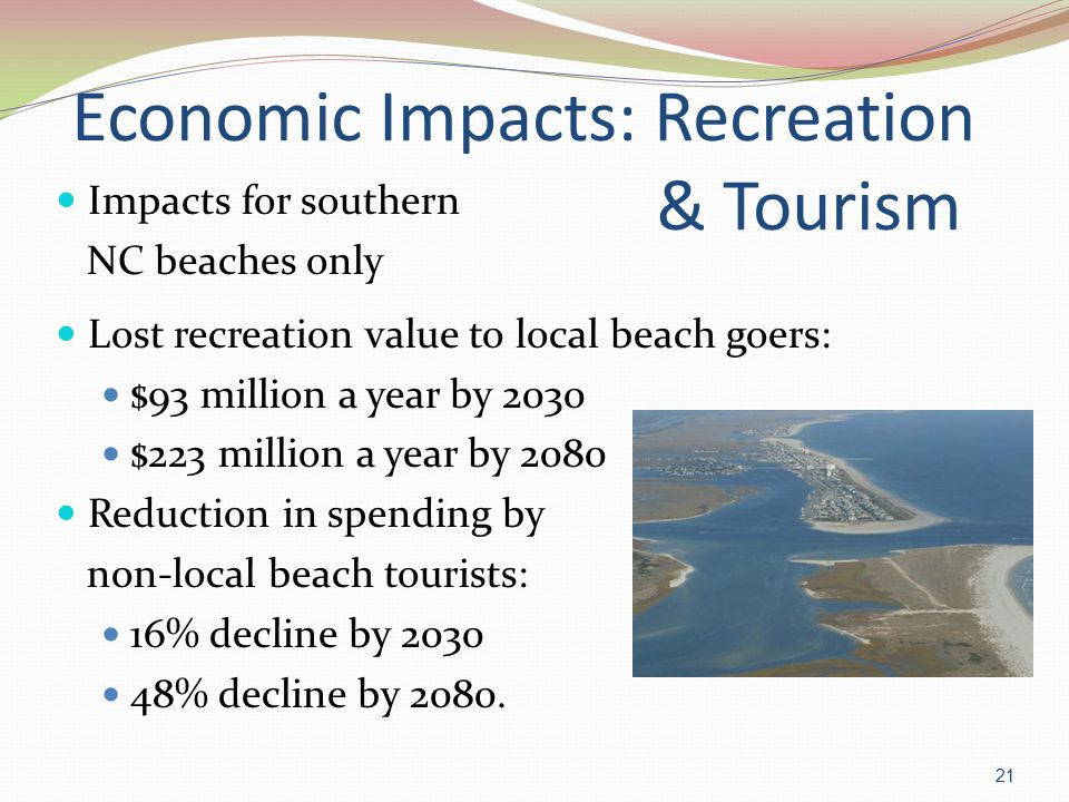 Economic Impacts: Recreation & Tourism Impacts for southern NC beaches only Lost recreation value to local beach goers: $93 million a year by 2030 $223 million a year by 2080 Reduction in spending by non-local beach tourists: 16% decline by 2030 48% decline by 2080.