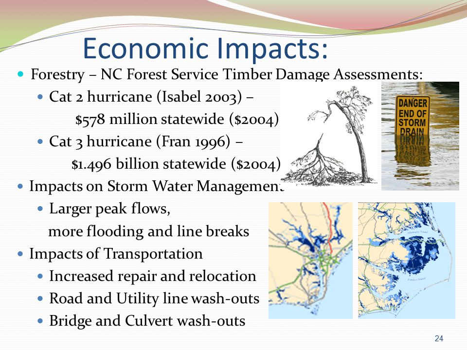 Economic Impacts: Forestry – NC Forest Service Timber Damage Assessments: Cat 2 hurricane (Isabel 2003) – $578 million statewide ($2004) Cat 3 hurricane (Fran 1996) – $1.496 billion statewide ($2004) Impacts on Storm Water Management Larger peak flows, more flooding and line breaks Impacts of Transportation Increased repair and relocation Road and Utility line wash-outs Bridge and Culvert wash-outs 24