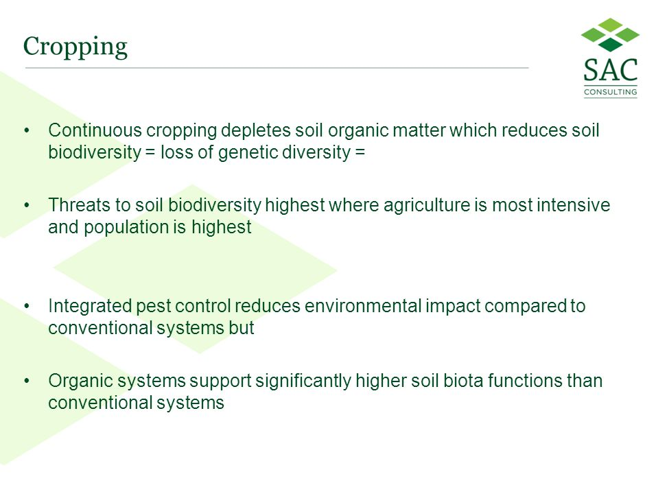 12 Cropping Continuous cropping depletes soil organic matter which reduces soil biodiversity = loss of genetic diversity = Threats to soil biodiversity highest where agriculture is most intensive and population is highest Integrated pest control reduces environmental impact compared to conventional systems but Organic systems support significantly higher soil biota functions than conventional systems