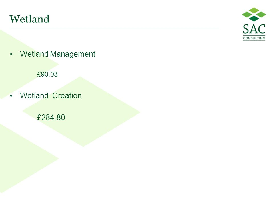 27 Wetland Wetland Management £90.03 Wetland Creation £284.80