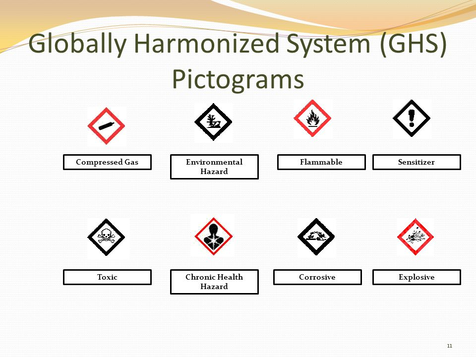 Globally Harmonized System (GHS) Pictograms 11 Compressed GasEnvironmental Hazard FlammableSensitizer ToxicChronic Health Hazard CorrosiveExplosive