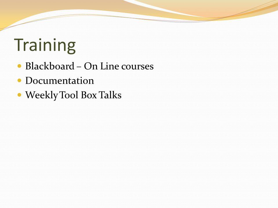 Training Blackboard – On Line courses Documentation Weekly Tool Box Talks