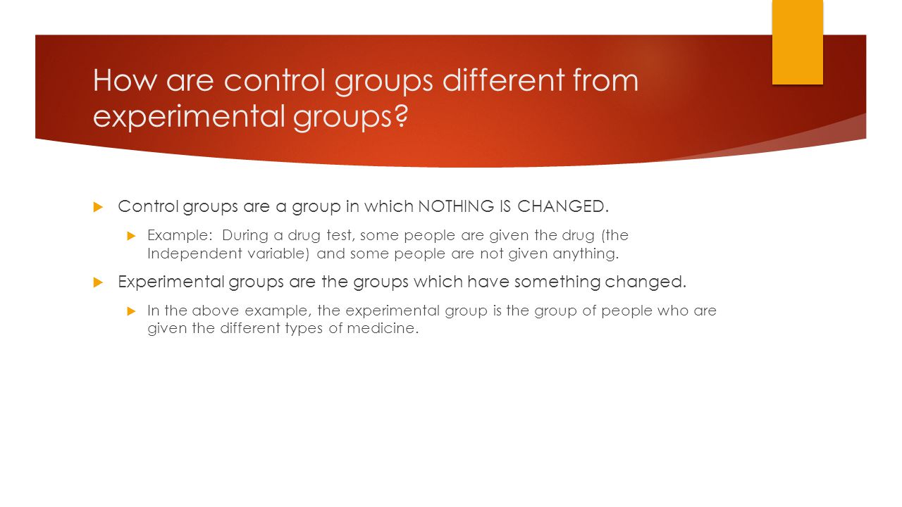 How are control groups different from experimental groups.