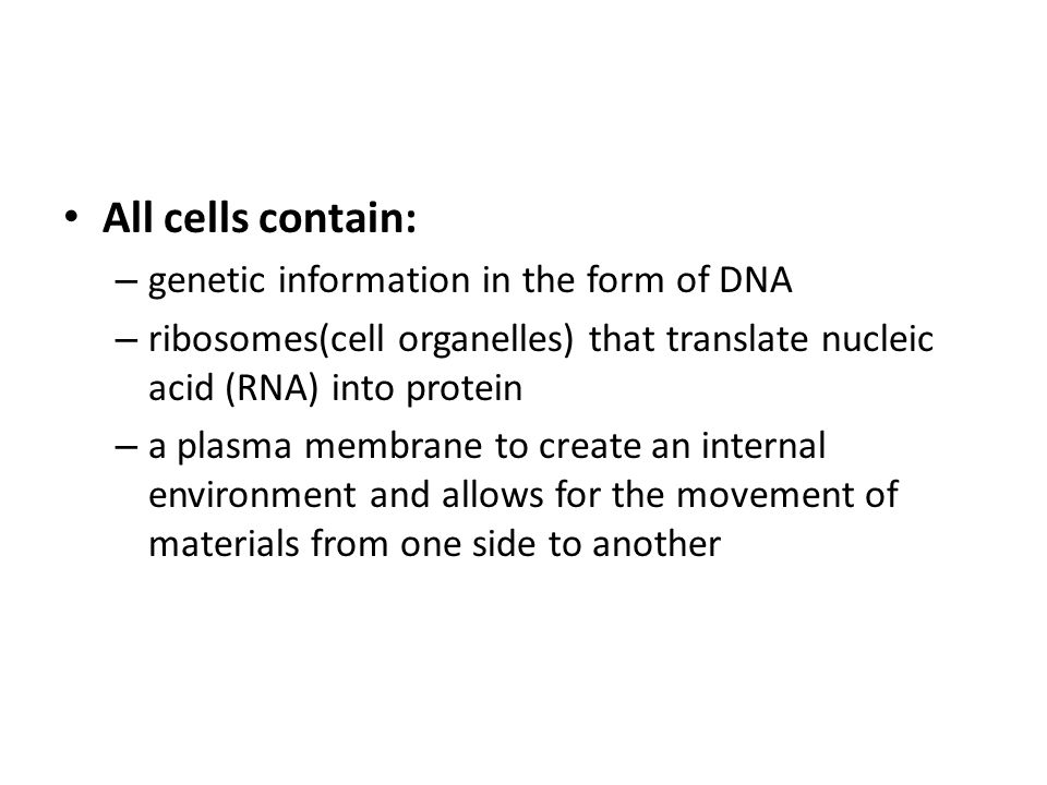 All cells contain: – genetic information in the form of DNA – ribosomes(cell organelles) that translate nucleic acid (RNA) into protein – a plasma mem