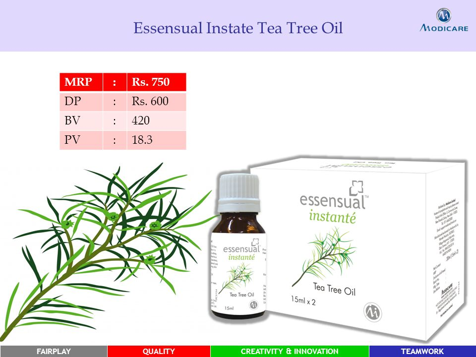 FAIRPLAYQUALITYCREATIVITY & INNOVATIONTEAMWORK Essensual Instate Tea Tree Oil MRP:Rs.