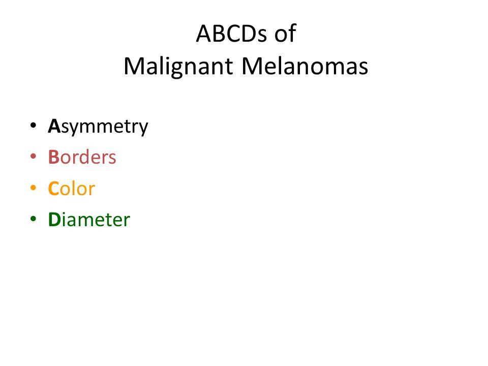 ABCDs of Malignant Melanomas Asymmetry Borders Color Diameter