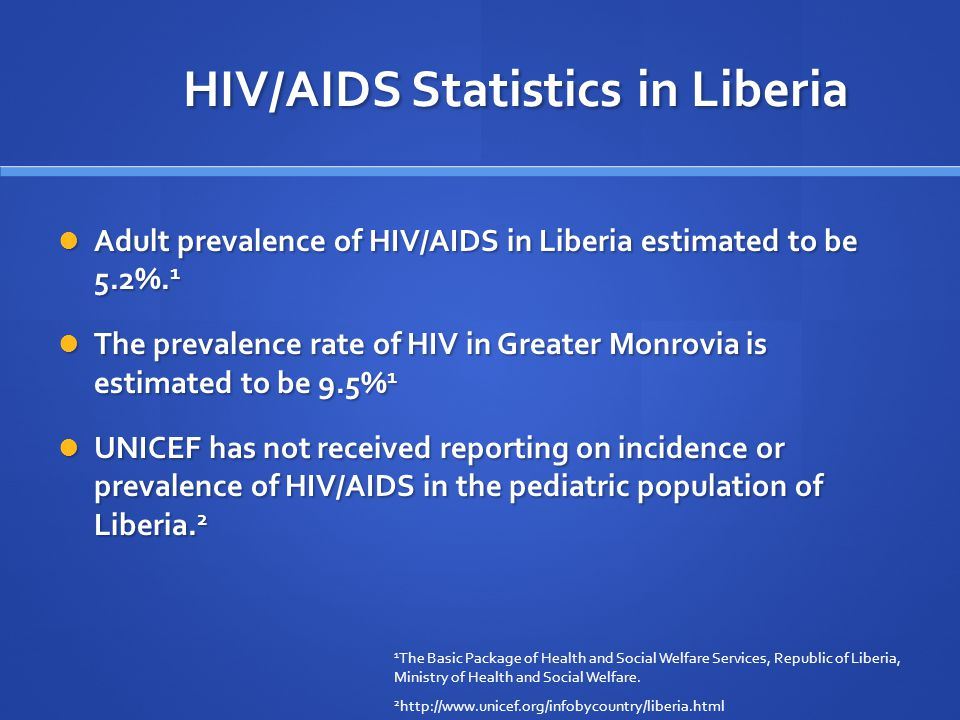 HIV/AIDS Statistics in Liberia Adult prevalence of HIV/AIDS in Liberia estimated to be 5.2%.