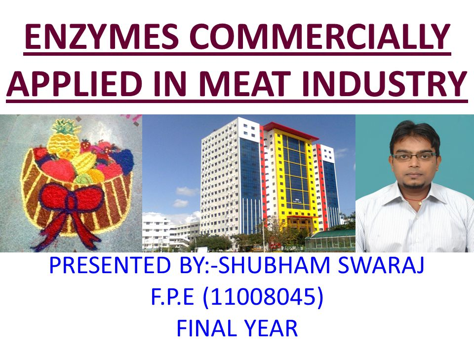 ENZYMES COMMERCIALLY APPLIED IN MEAT INDUSTRY PRESENTED BY:-SHUBHAM SWARAJ F.P.E (11008045) FINAL YEAR