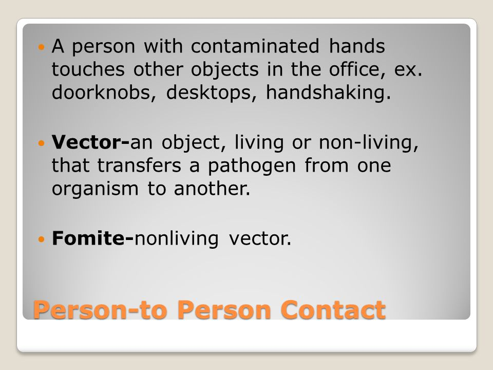Person-to Person Contact A person with contaminated hands touches other objects in the office, ex. doorknobs, desktops, handshaking. Vector-an object,