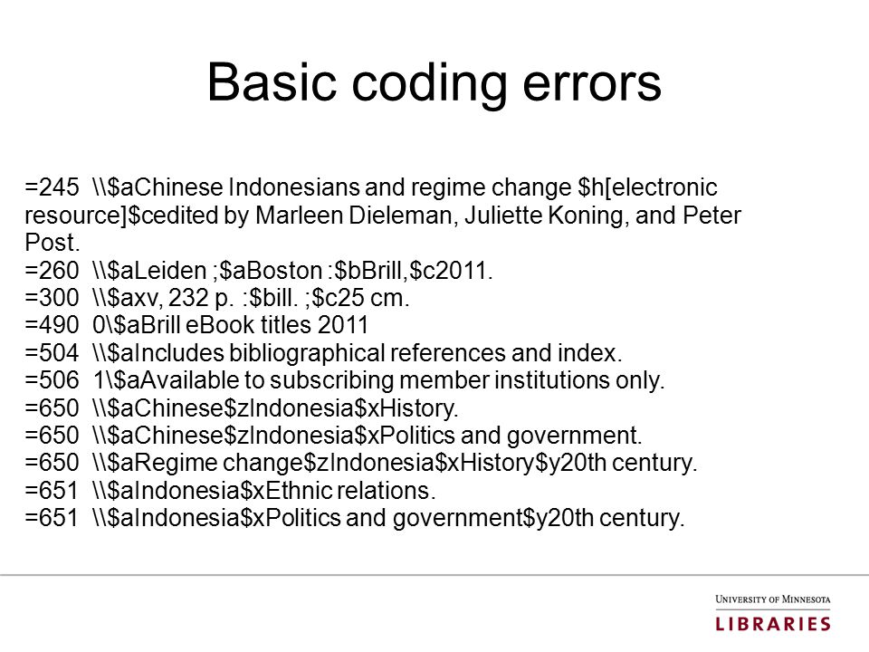 Basic coding errors =245 \\$aChinese Indonesians and regime change $h[electronic resource]$cedited by Marleen Dieleman, Juliette Koning, and Peter Post.