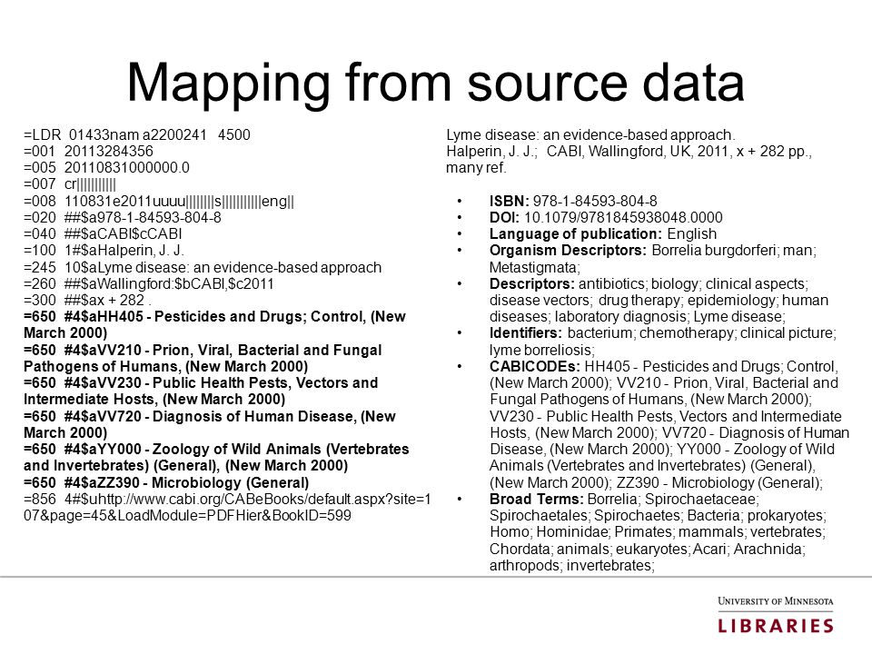Mapping from source data =LDR 01433nam a2200241 4500 =001 20113284356 =005 20110831000000.0 =007 cr||||||||||| =008 110831e2011uuuu||||||||s|||||||||||eng|| =020 ##$a978-1-84593-804-8 =040 ##$aCABI$cCABI =100 1#$aHalperin, J.