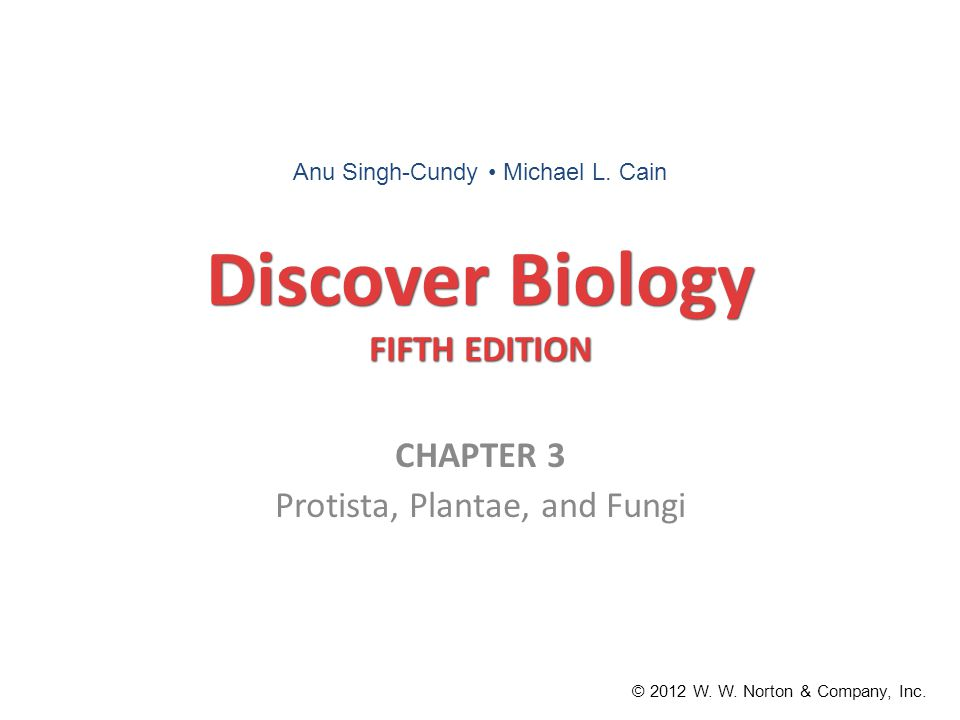 Discover Biology FIFTH EDITION CHAPTER 3 Protista, Plantae, and Fungi © 2012 W. W. Norton & Company, Inc. Anu Singh-Cundy Michael L. Cain