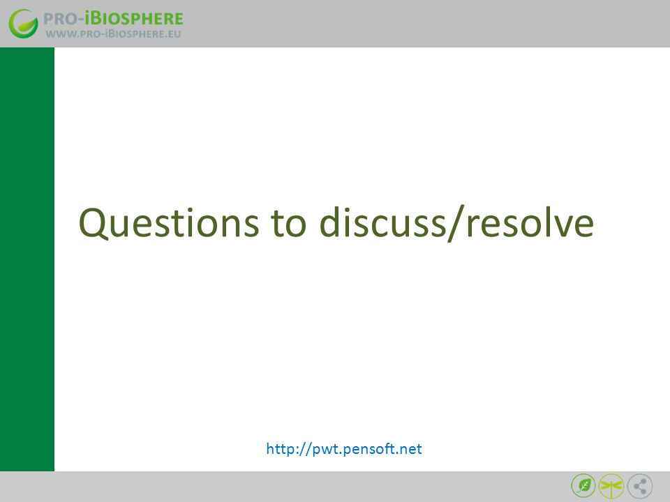 Questions to discuss/resolve http://pwt.pensoft.net