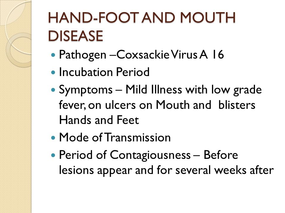 HAND-FOOT AND MOUTH DISEASE Pathogen –Coxsackie Virus A 16 Incubation Period Symptoms – Mild Illness with low grade fever, on ulcers on Mouth and blisters Hands and Feet Mode of Transmission Period of Contagiousness – Before lesions appear and for several weeks after