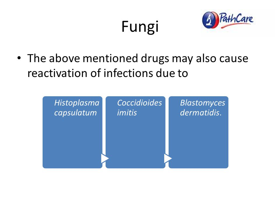Fungi The above mentioned drugs may also cause reactivation of infections due to Histoplasma capsulatum Coccidioides imitis Blastomyces dermatidis.