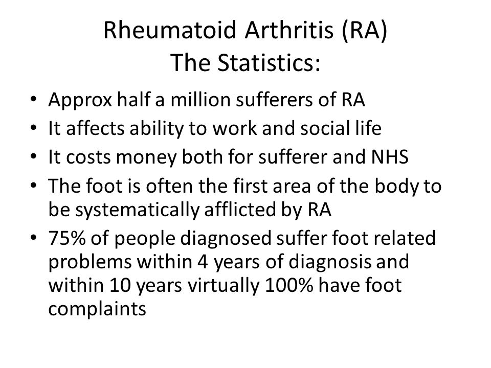 How can RA affect the feet.
