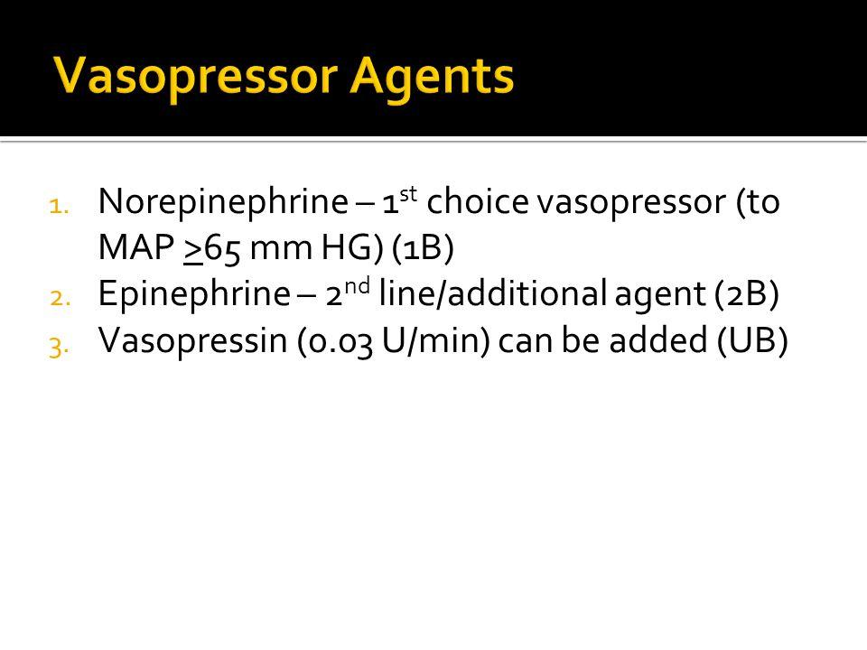 1. Norepinephrine – 1 st choice vasopressor (to MAP >65 mm HG) (1B) 2.