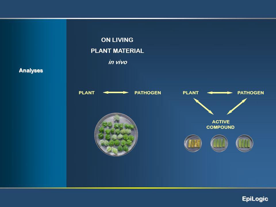 EpiLogic ON LIVING PLANT MATERIAL in vivo PLANT PATHOGEN PLANTPATHOGEN ACTIVE COMPOUND Analyses