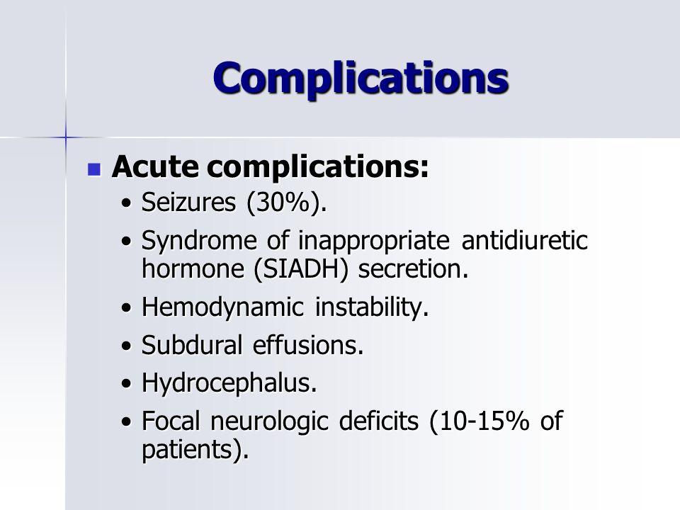 Complications Acute complications: Acute complications: Seizures (30%).Seizures (30%).