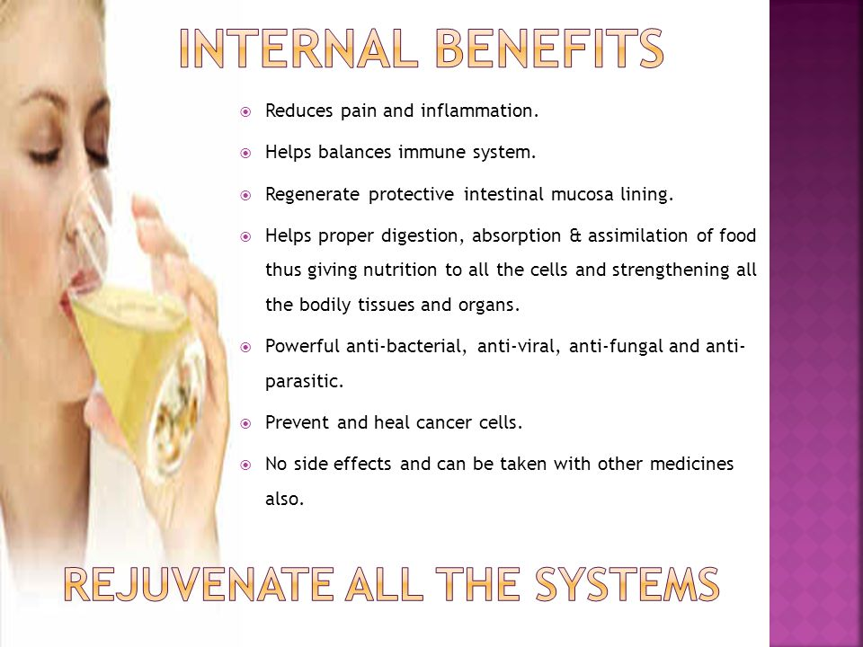  Reduces pain and inflammation.  Helps balances immune system.