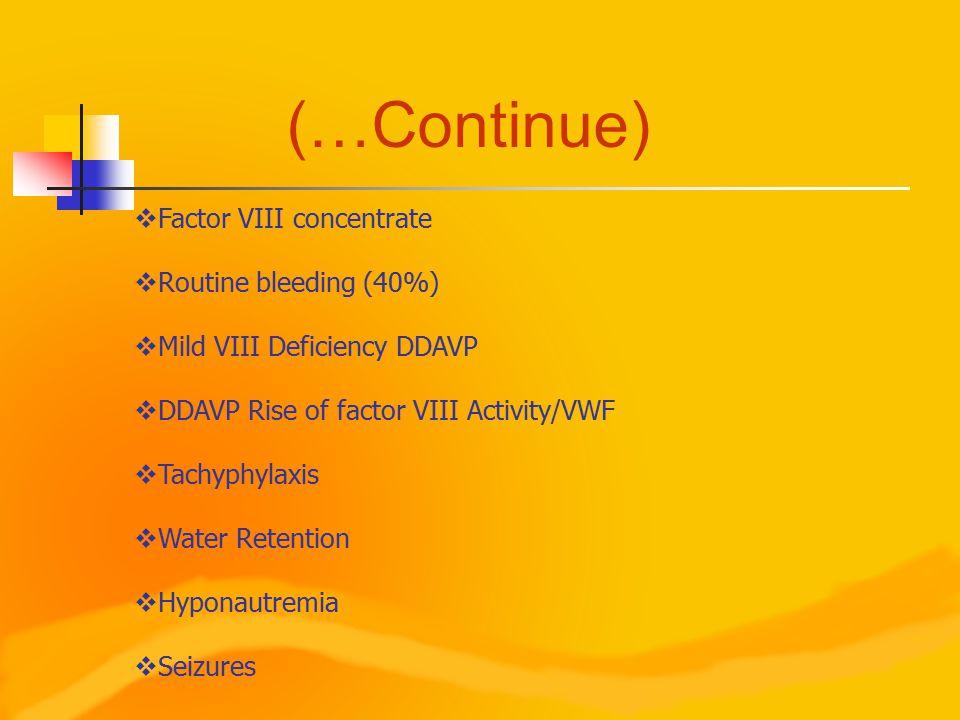 (…Continue)  Factor VIII concentrate  Routine bleeding (40%)  Mild VIII Deficiency DDAVP  DDAVP Rise of factor VIII Activity/VWF  Tachyphylaxis  Water Retention  Hyponautremia  Seizures