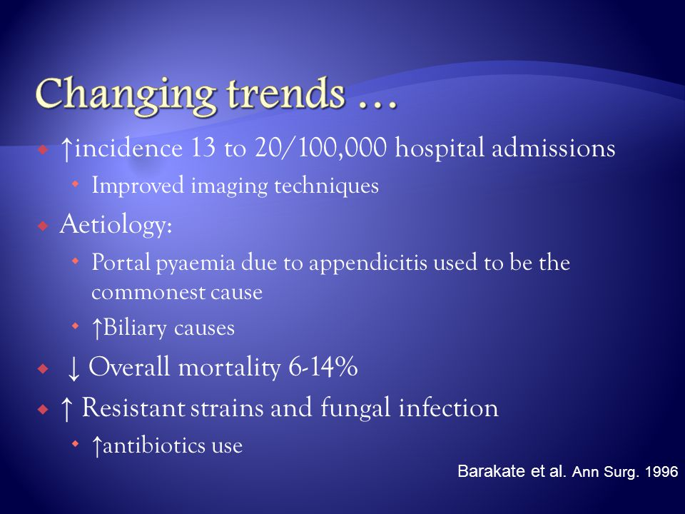  ↑ incidence 13 to 20/100,000 hospital admissions  Improved imaging techniques  Aetiology:  Portal pyaemia due to appendicitis used to be the comm