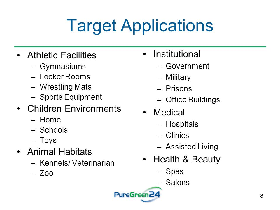 8 Target Applications Athletic Facilities –Gymnasiums –Locker Rooms –Wrestling Mats –Sports Equipment Children Environments –Home –Schools –Toys Anima
