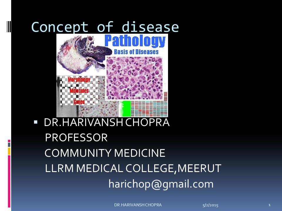 CLASSIFICATION OF DISEASE NEOPLASTIC DISEASES METABOLIC DISORDERS DEGENERATIVE DISEASES 5/2/2015 12 DR.HARIVANSH CHOPRA
