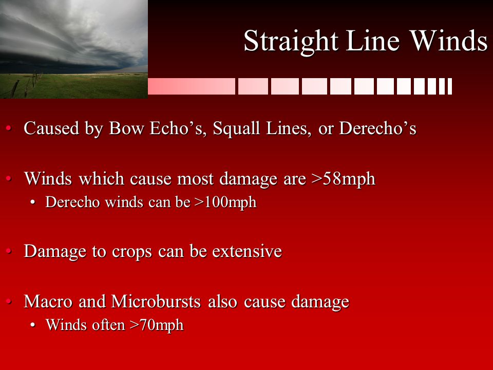 Caused by Bow Echo's, Squall Lines, or Derecho'sCaused by Bow Echo's, Squall Lines, or Derecho's Winds which cause most damage are >58mphWinds which c