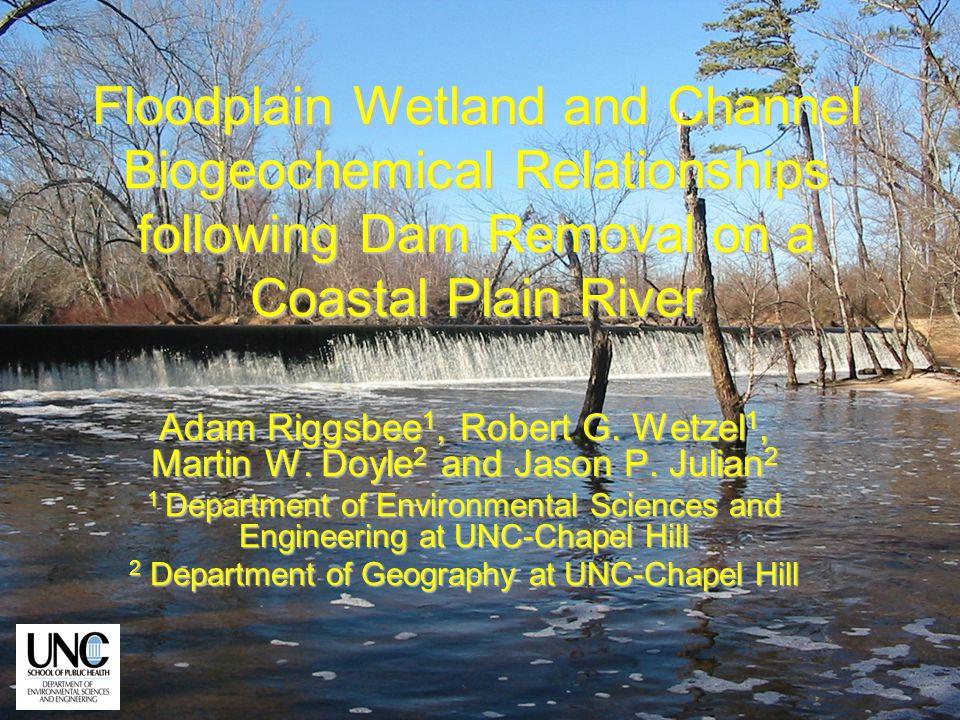 Floodplain Wetland and Channel Biogeochemical Relationships following Dam Removal on a Coastal Plain River Adam Riggsbee 1, Robert G. Wetzel 1, Martin