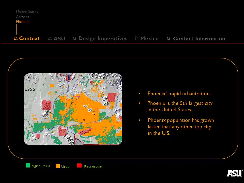 ¤ Design Imperatives ¤ Context Main Campus ¤ ASU Campuses About us Centers Funding Research ¤ Mexico ¤ Contact Information