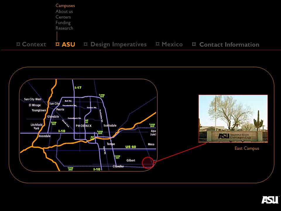 ¤ Design Imperatives ¤ Context ¤ ASU Campuses About us Centers Funding Research ¤ Mexico West Campus ¤ Contact Information