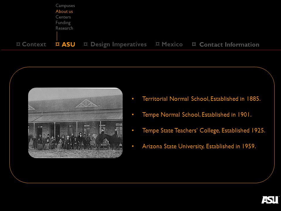 ¤ ASU ¤ Design Imperatives ¤ Context Campuses About us Centers Funding Research ¤ Mexico Territorial Normal School, Established in 1885.