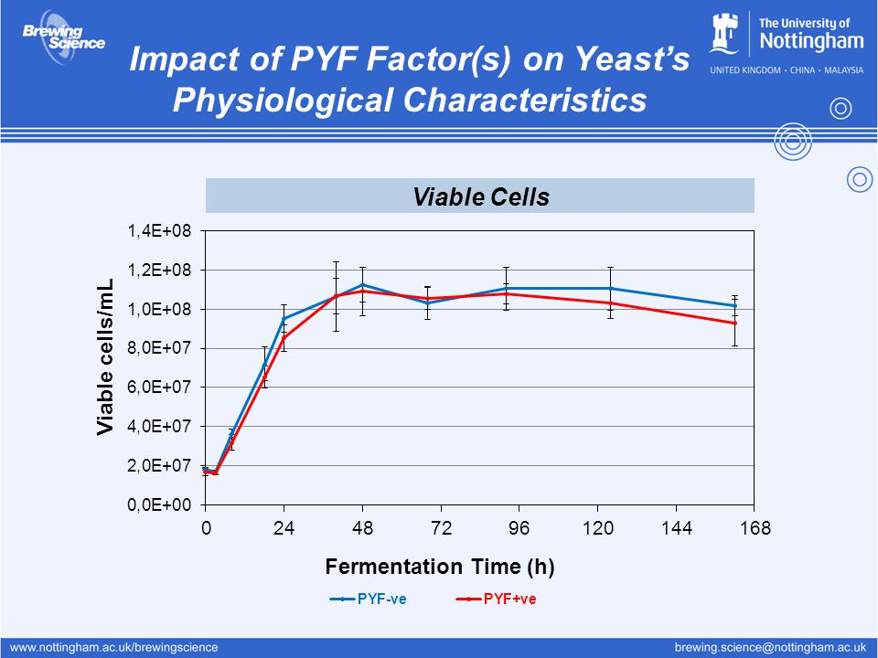 Impact of PYF Factor(s) on Yeast's Physiological Characteristics Viable Cells