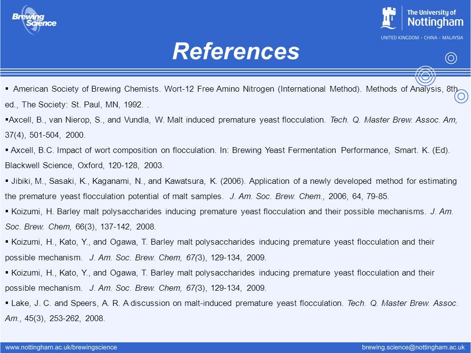 References  American Society of Brewing Chemists. Wort-12 Free Amino Nitrogen (International Method). Methods of Analysis, 8th ed., The Society: St.