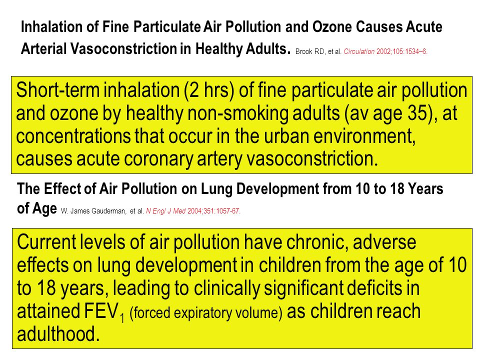 Inhalation of Fine Particulate Air Pollution and Ozone Causes Acute Arterial Vasoconstriction in Healthy Adults. Brook RD, et al. Circulation 2002;105