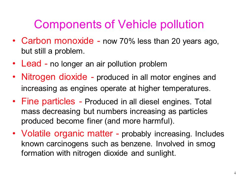 Components of Vehicle pollution Carbon monoxide - now 70% less than 20 years ago, but still a problem. Lead - no longer an air pollution problem Nitro