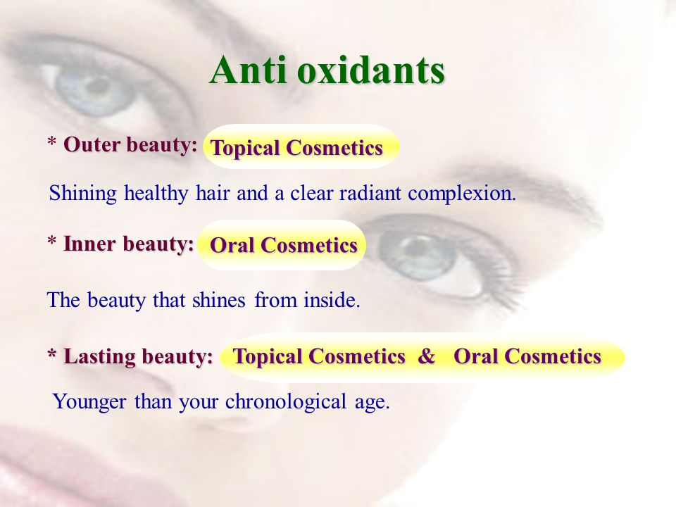 Outer beauty: * Outer beauty: Anti oxidants Shining healthy hair and a clear radiant complexion.