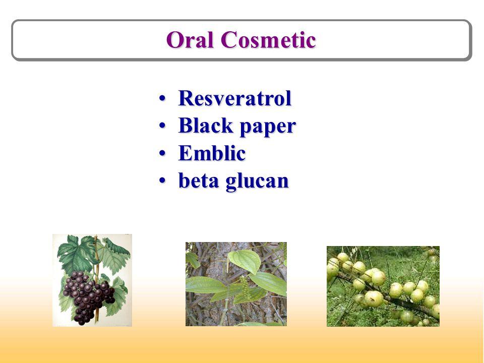 Oral Cosmetic Resveratrol Resveratrol Black paper Black paper Emblic Emblic beta glucan beta glucan