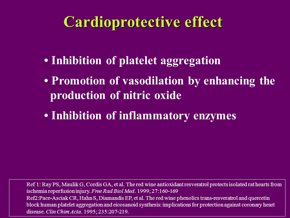 Cardioprotective effect Inhibition of platelet aggregation Promotion of vasodilation by enhancing the production of nitric oxide Inhibition of inflammatory enzymes Ref 1: Ray PS, Maulik G, Cordis GA, et al.