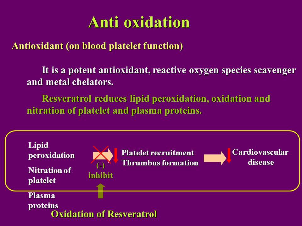 Anti oxidation Antioxidant (on blood platelet function) It is a potent antioxidant, reactive oxygen species scavenger and metal chelators.