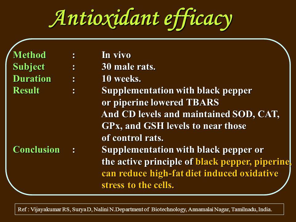 Antioxidant efficacy Ref : Vijayakumar RS, Surya D, Nalini N.Department of Biotechnology, Annamalai Nagar, Tamilnadu, India.