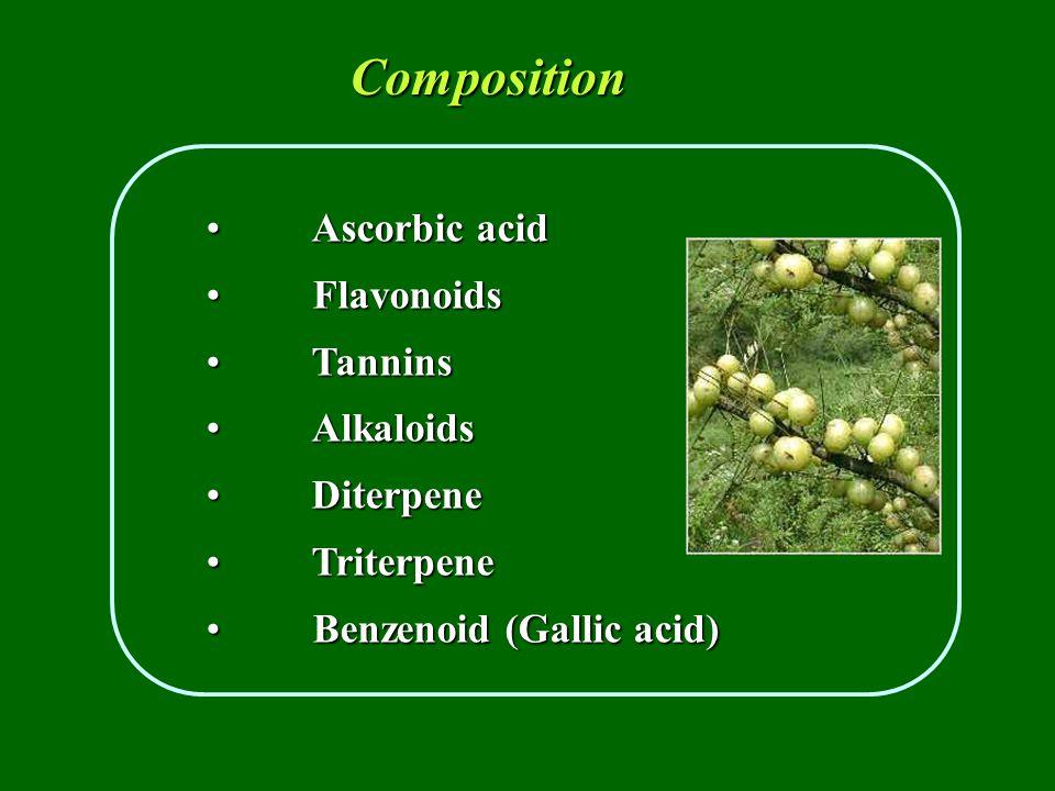 Ascorbic acidAscorbic acid Flavonoids Flavonoids Tannins Tannins AlkaloidsAlkaloids DiterpeneDiterpene TriterpeneTriterpene Benzenoid (Gallic acid) Benzenoid (Gallic acid) Composition