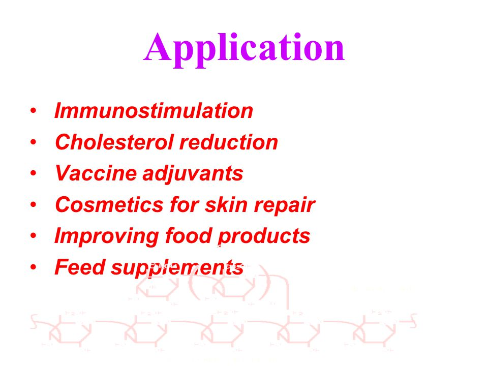 Application Immunostimulation Cholesterol reduction Vaccine adjuvants Cosmetics for skin repair Improving food products Feed supplements